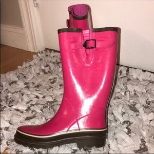 Like New! Pink & Brown Rain Boots, Size 6